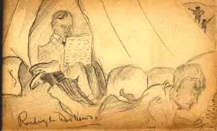 Father 'Reading the War News:' AHH Sketch. Aug. 1914.