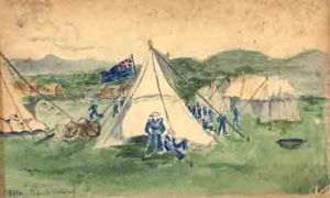 Scouts at Abergele. Watercolour. AHH.  Aug. 1914