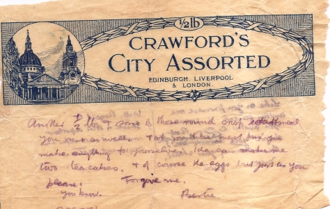 Crawfords City Assorted packaging: used when paper was scarce.