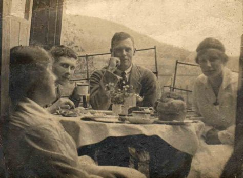 The Hibbett Family at Tea:  Mother, Bertie, Sydney and Ida.