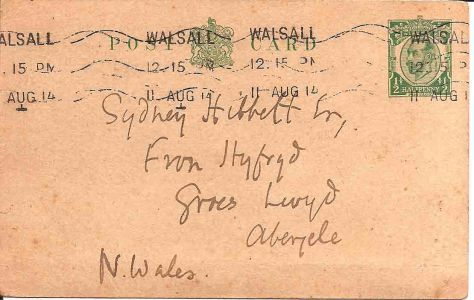 Sent to Sydney whilst on Holiday at Abergele. Aug. 11th 1914.
