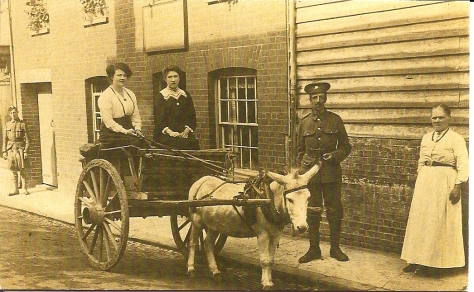 Grandmother Penning. Seated in Cart: (dark dress) Elizabeth Penning, sister of John Francis, Bertie's Landlord., George and William.