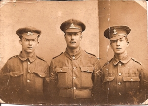 Centre: Sydney Hibbett. Sergt Training.1916. Does anyone recognise the other soldiers.