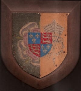 Queen Mary's Club Life Membership  Shield. presented to AHH in March 1926. It shows the pink & white Tudor Rose of Mary 1st.