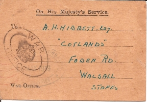 War office Card