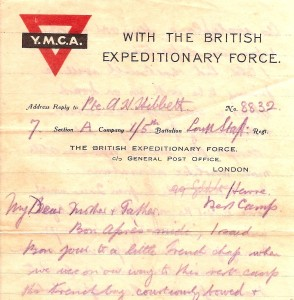 YMCA Headed Paper. 3rd March 1915