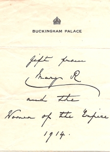 Buck Palace Gift letter 5th March 1915