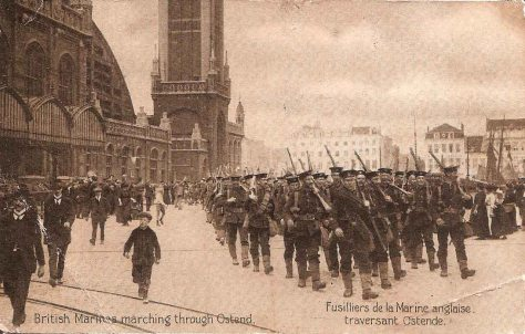 British Marines marching through Ostend. 1915.