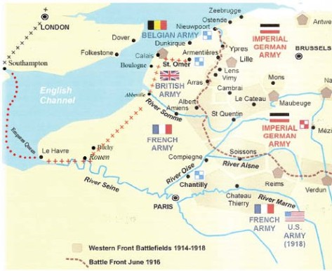 Route tp the Front March 1915. Map adapted with thanks from 'WW1 Battlefields of the Western Front'.
