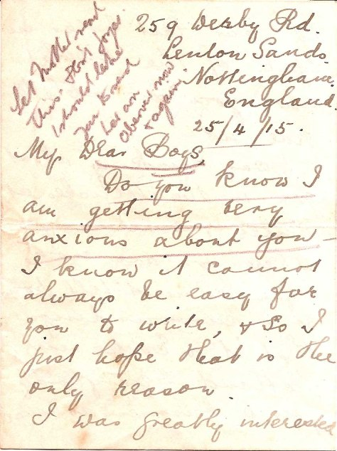 Mary Foster Letter 1915 April