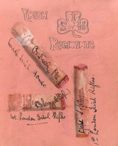 Irish regiment Autographs collected on Cigarette ppares . Hsopital Birkenhead. 1916.
