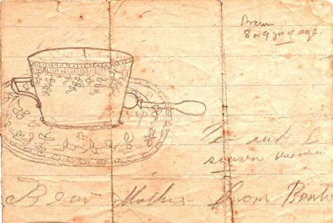 Bertie Hibbett's drawing of a tea cup. Aged 8.