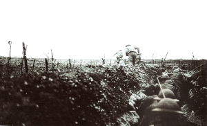 Sap Trench into No Man's land. Soldiers had to bend their backs.