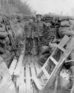 Trench 8. Pte bertie Hibbett's Wulverghem Trench showing foot boards.