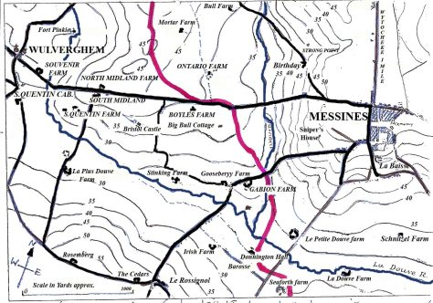 WULVERGHEM /MESSINES MAP of FARMS. redrawn with help of