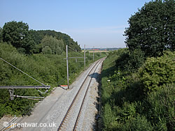 Railway Cutting looking south, with Hill 60 spoil mound on left & Caterpillar spoil mound on right.
