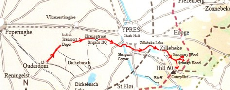 Rough Map of Staffords Route to the Front. 5th July 1915.
