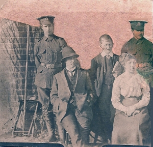 Sydney & Bertie Hibbett. QMS Cadets with Basil & parents. 1911. Photo: Harold. Hibbett.