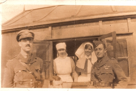 R.A.M.C. Hut with soldiers & nurses. Hibbett Collection but anonymous.