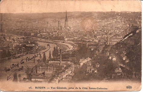 Rouen. 1915. PC to Ida Oct . 1915. from Bertie Hibbett.