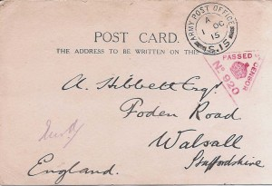 YMCA Postcard 28th Sept. 1915.