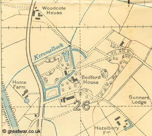 Bedford House: former Chateau Rosendal with woodland moats and lakes. Destroyed by shelling 1914-1918.