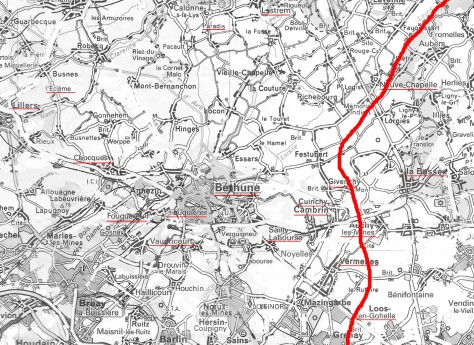 Rough Map/ modern roads deleted: Artois Region, France : Hohenzollern Redoubt. Approx Front Line in Red. October 13th 1915.