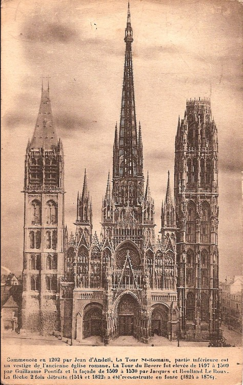 ROUEN CATHEDRAL Visited by Pte bertie Hibbett possibly on 8th Oct. 1915.