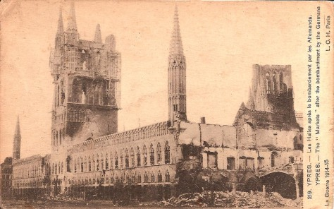 Ypres Cloth Hall. 1915.