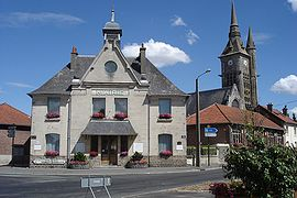 Restored Church & Mayor's Office Neuville St Vaast. en-wiki