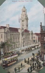 Post card new town Hall, Walsall 1905.