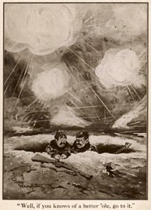 Two soldiers stuck in a trench, during a battle in World War One. This famous illustration for The Bystander was by Captain Bruce Bairnsfather (1888-1959) whose bittersweet cartoons in the magazine depicting the ordinary Tommy in the trenches during World War I. 1915