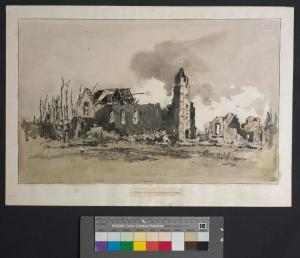 Church of Our Lady, Fonquevillers. Water colour. Adrian Hill. Imperial War Museum.