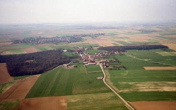 Gommecourt Village, Park & Wood today from the air, with Fonquevillers beyond upper left.