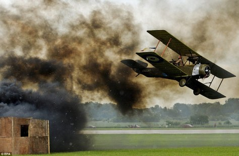 Aviation Fair Re-enactment Prague Czechoslovakia.WW1 Sopwith Strutter in action.